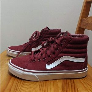 Burgundy hi top vans
